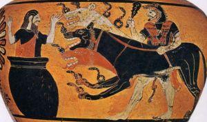 Héraclès, Cerbère et Eurysthée, hydrie à figures noires v.525 av. J-C; Au musée du Louvres.